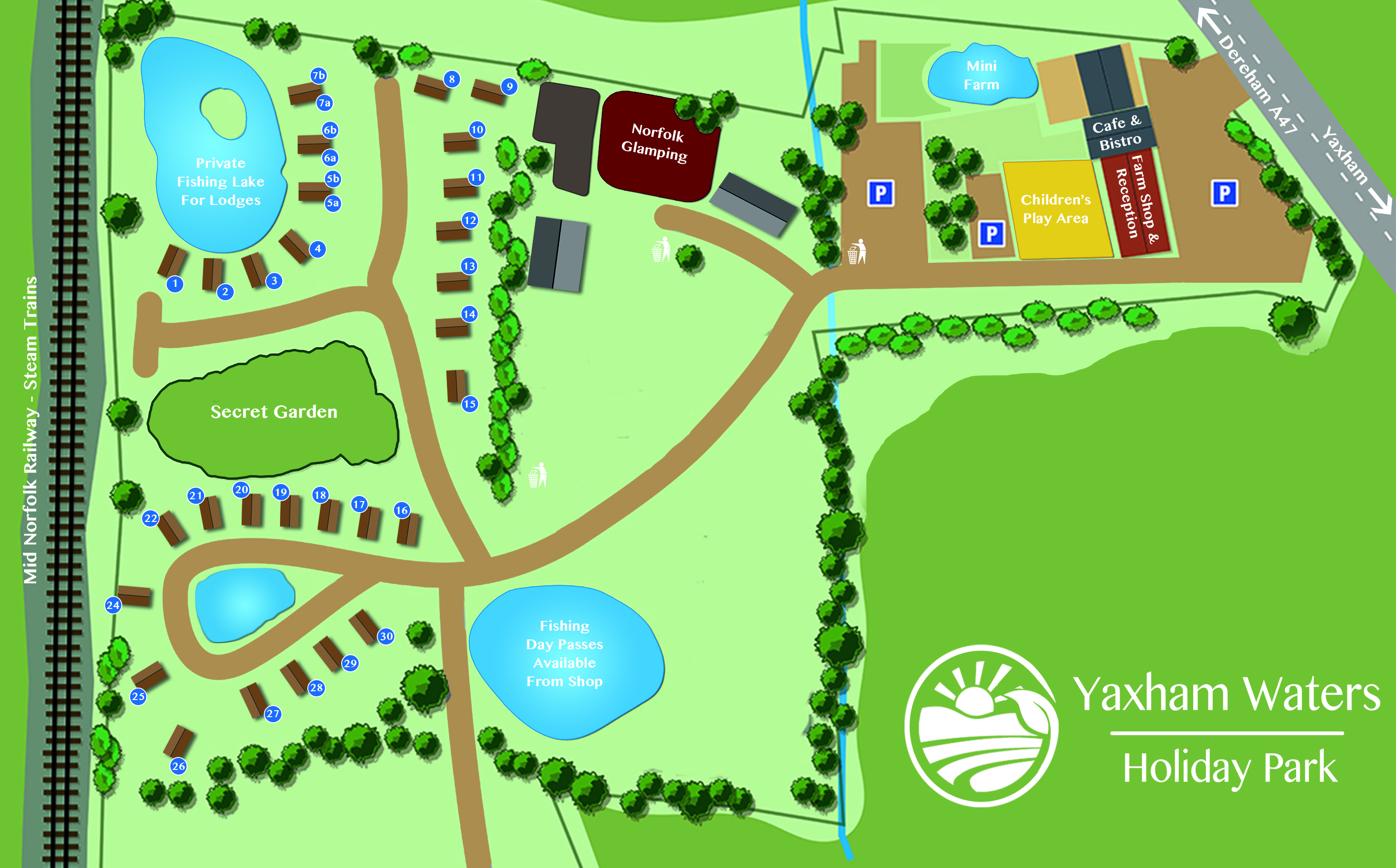 Map of Yaxham Waters Holiday Park